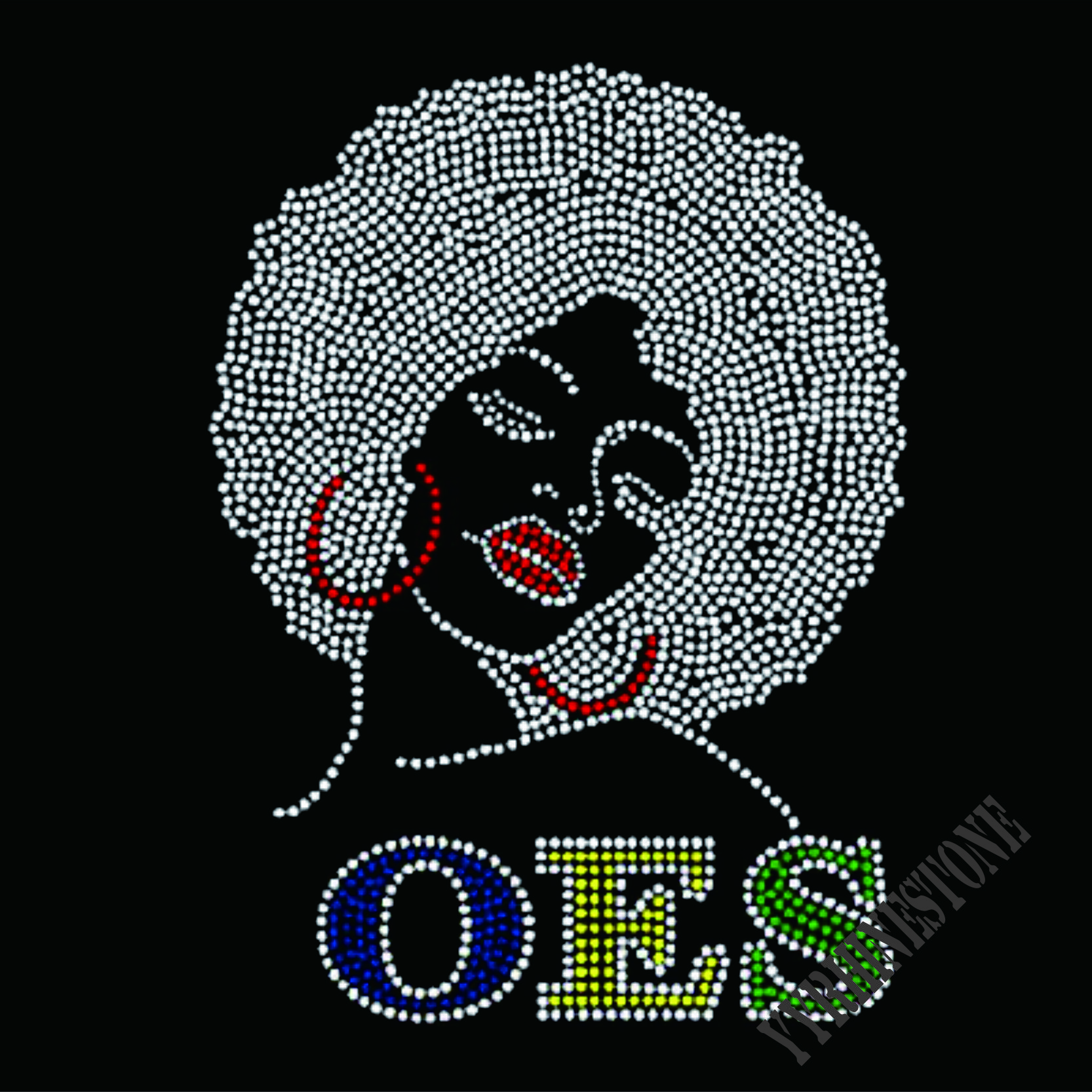 For T-shirt OES afro girl hotfix rhinestone transfers