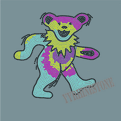 Colorful Bear hot fix rhinestones transfer