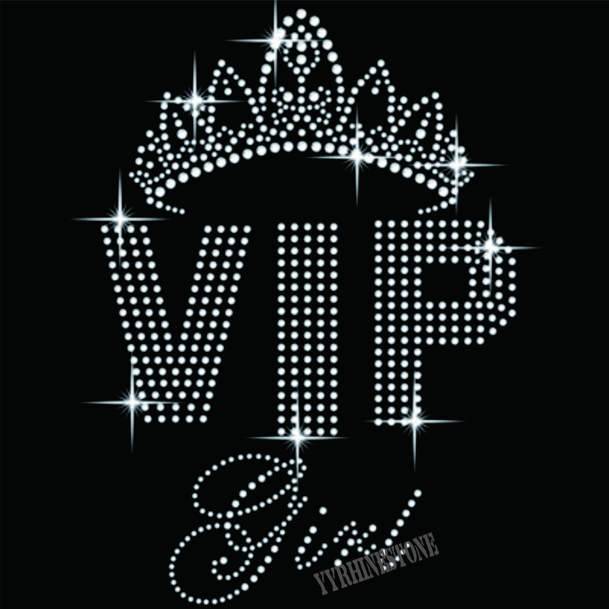 VIP Girl Crown hotfix motif rhinestone design