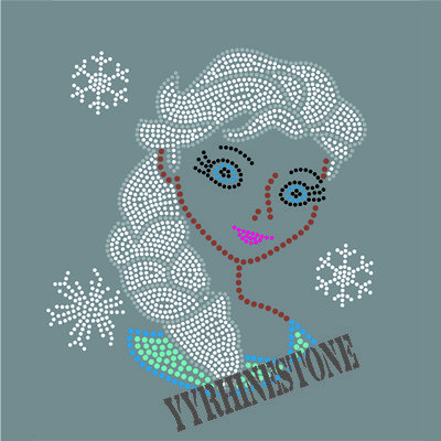 Best selling hot fix rhineston Frozen Elsa custom rhinestone transfer Designs for Clothing