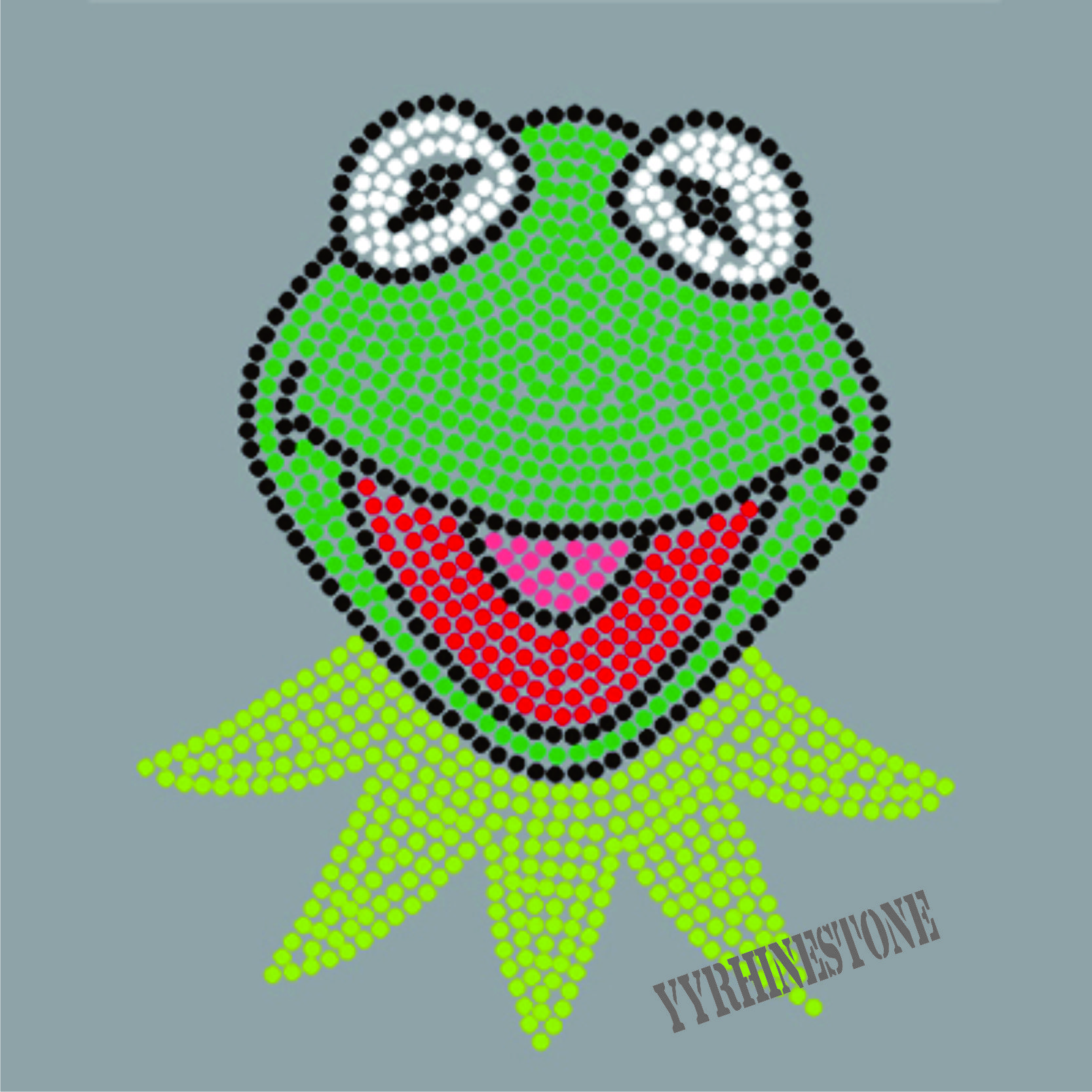 Kermit the Frog Iron On Rhinestone Transfer