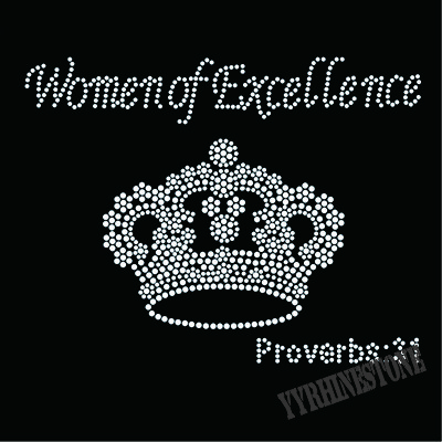 women of excellence with crown rhinestone transfer