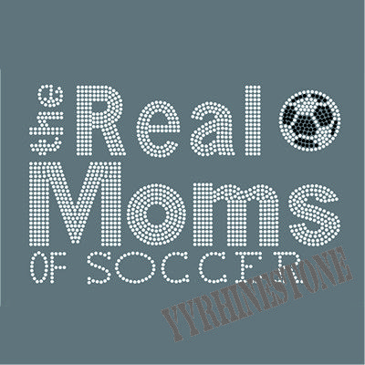 The real moms of soccer rhinestone transfer hot fix design