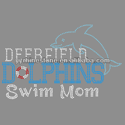 wholesale dolphin with swim mom hotfix rhinestone transfer