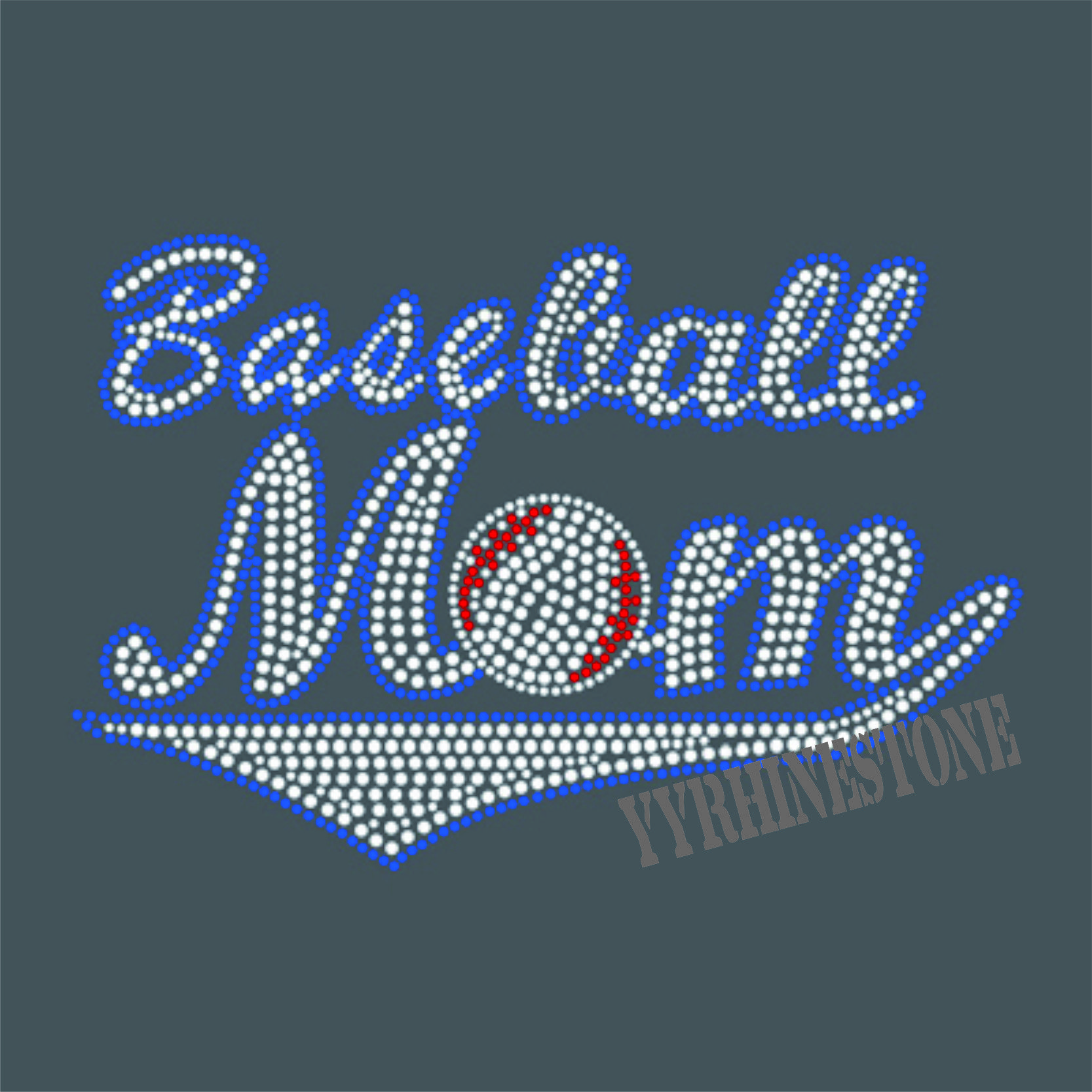 baseball mom rhinestone transfer