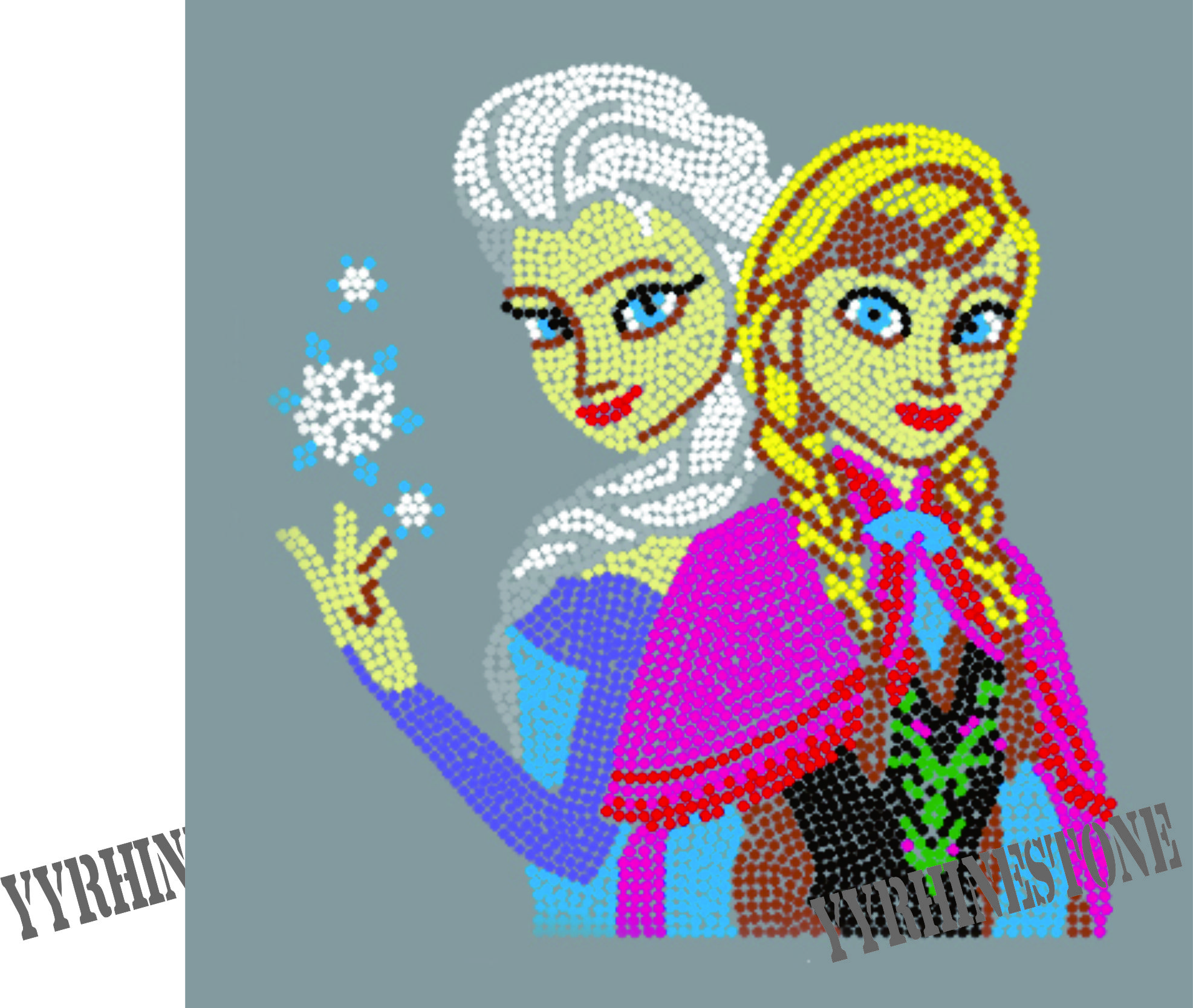 Hot sale Frozen Anna Elsa heat Rhinestone Transfers