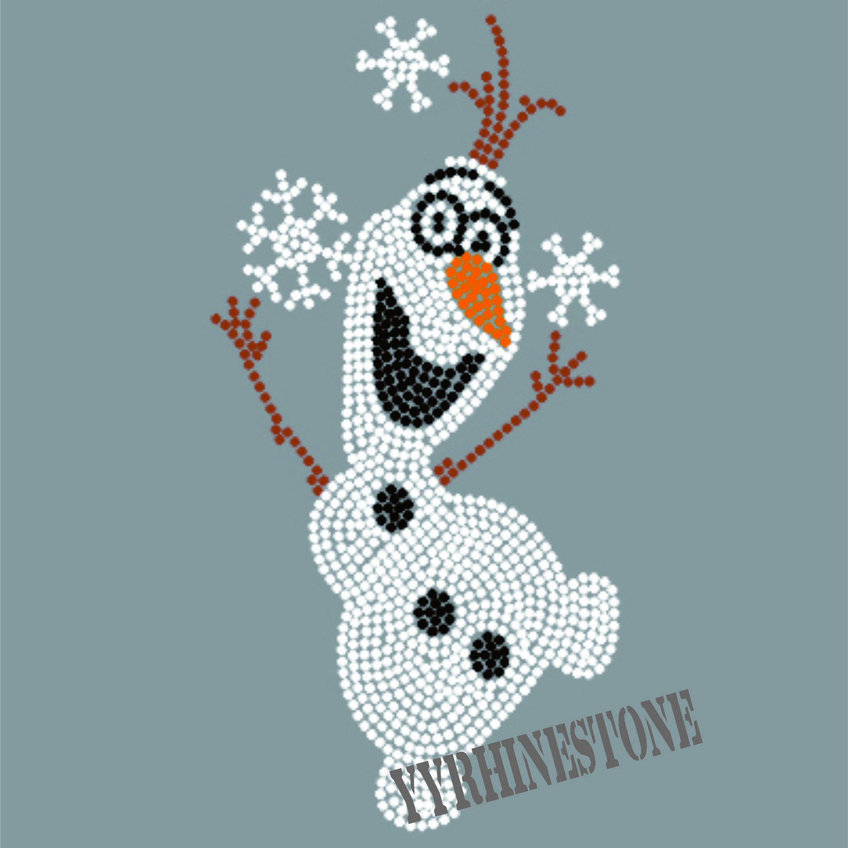 The Snowman Olaf heat Rhinestone Transfer