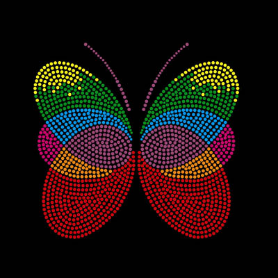 Sweet Butterfly Rhinestone Motif For Tshirts