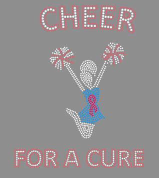 Cheer for a cure heat rhinestone transfers