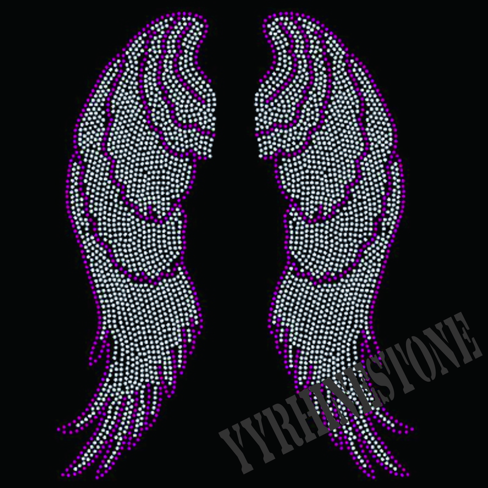 beautiful wings iron on rhinestone transfers