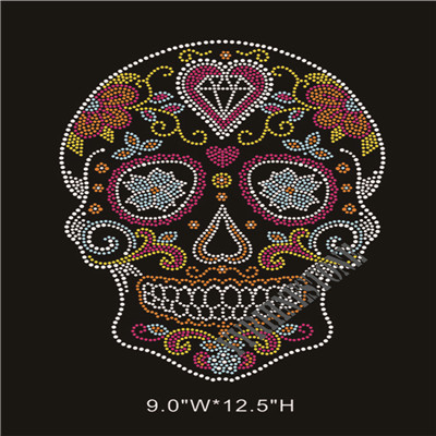 Newest rhinestone skull heat transfer
