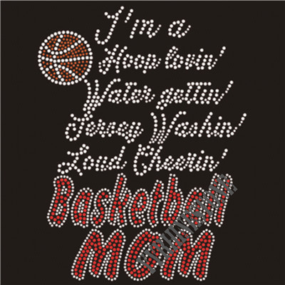 basketball mom t shirt transfer wholesale in china iron-on- rhinestone motif