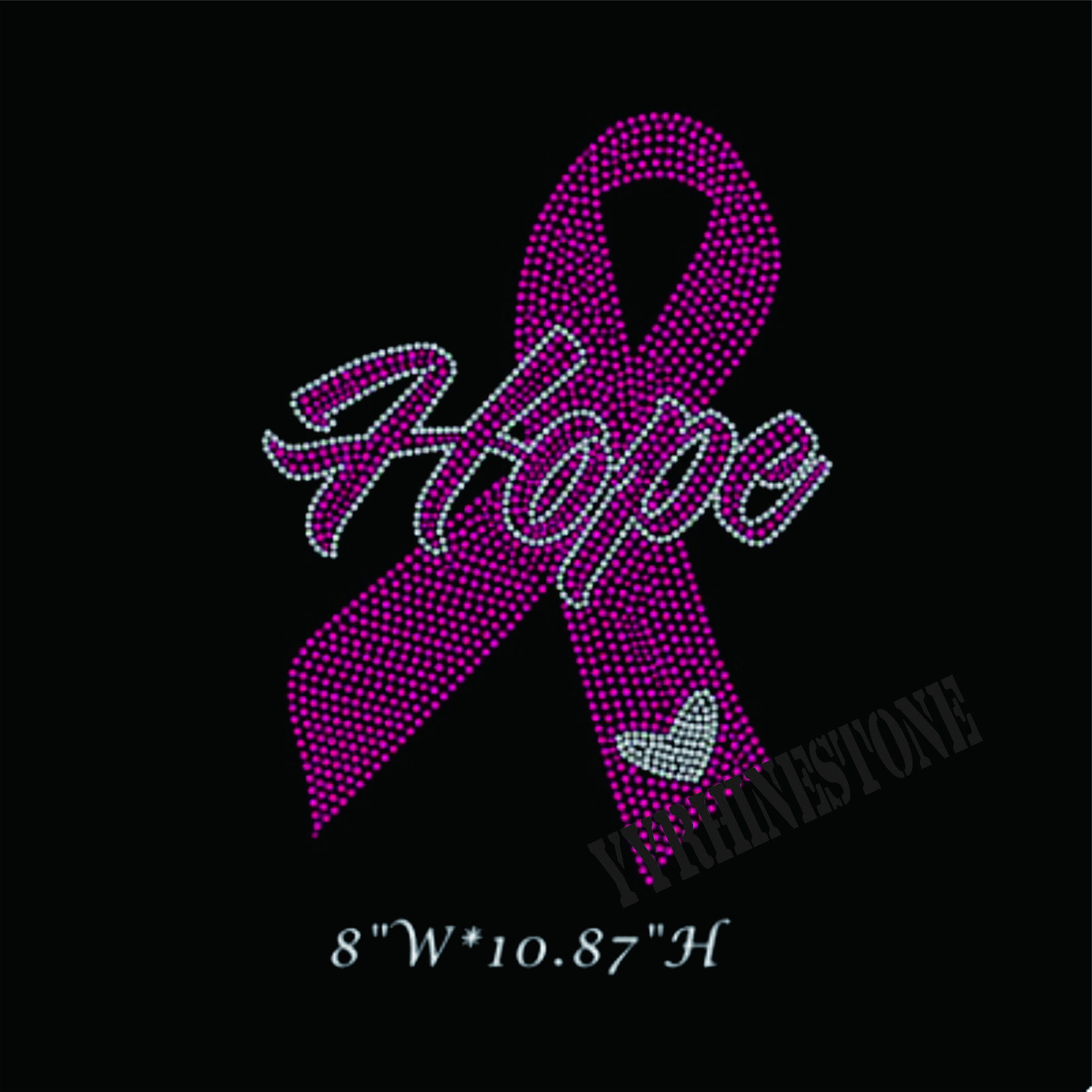 Hope & pink ribbon hotfix rhinestone transfers