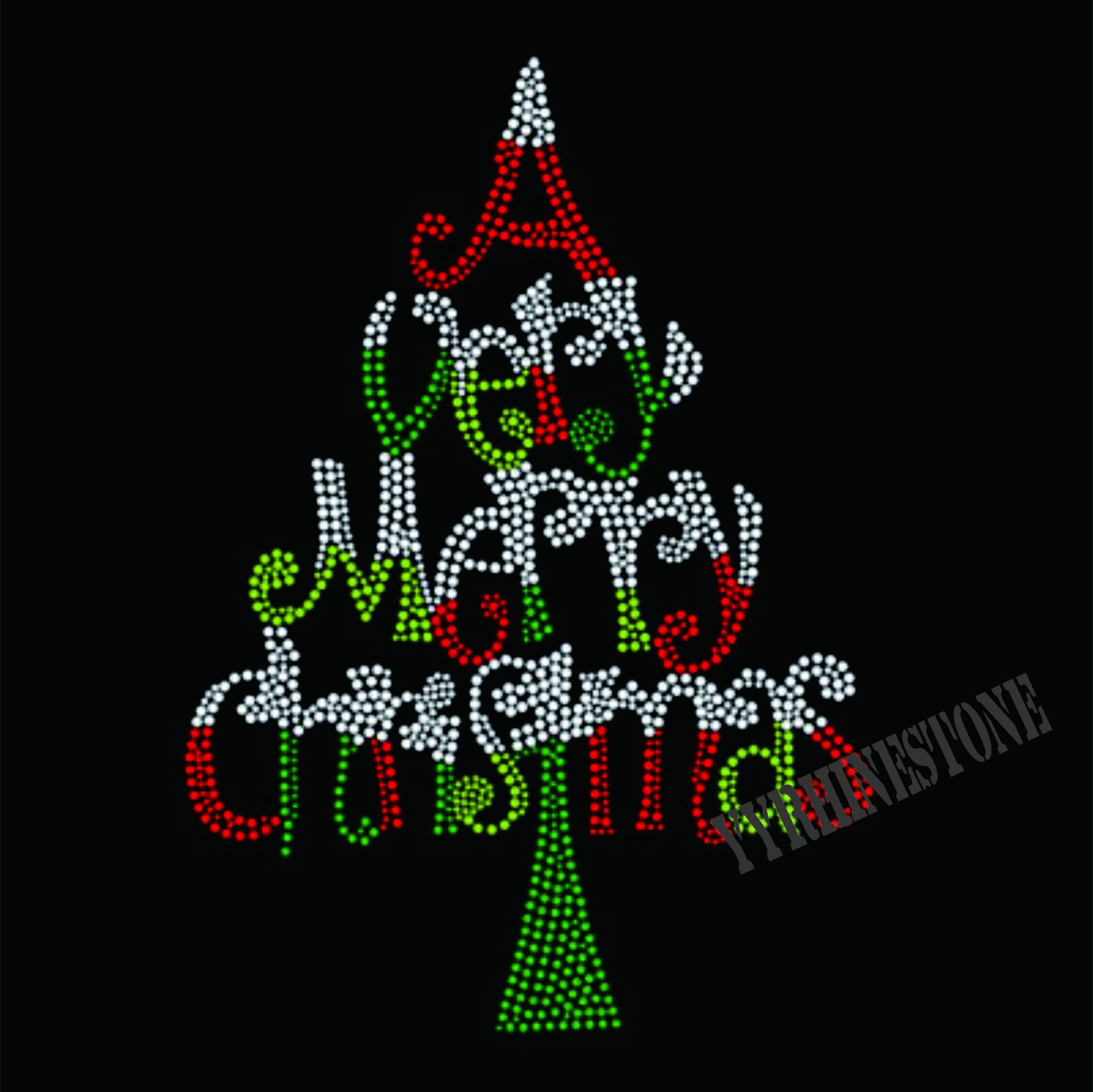 A VERY MERRY CHRISTMAS rhinestone transfer