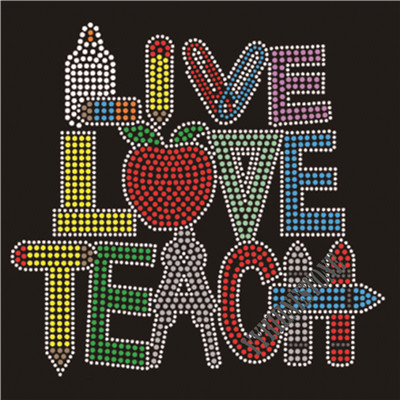 Live love teach rhinestone transfer