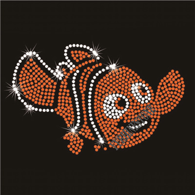 cute fish hotfix motif rhinestone transfer design