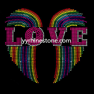 love with wings hotfix rhinestone transfer