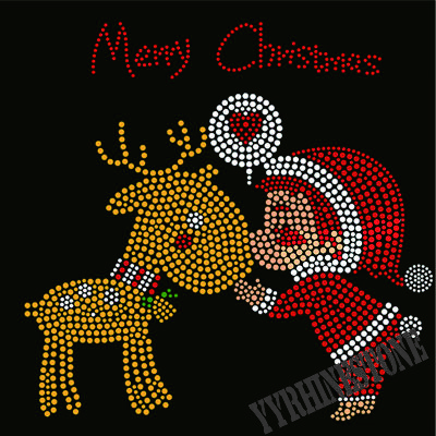 Merry christmas hotfix rhinestone transfer