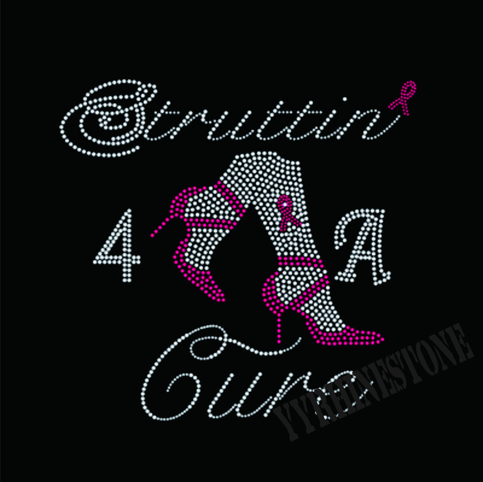strutting for a cure horfir rhinestone transfer