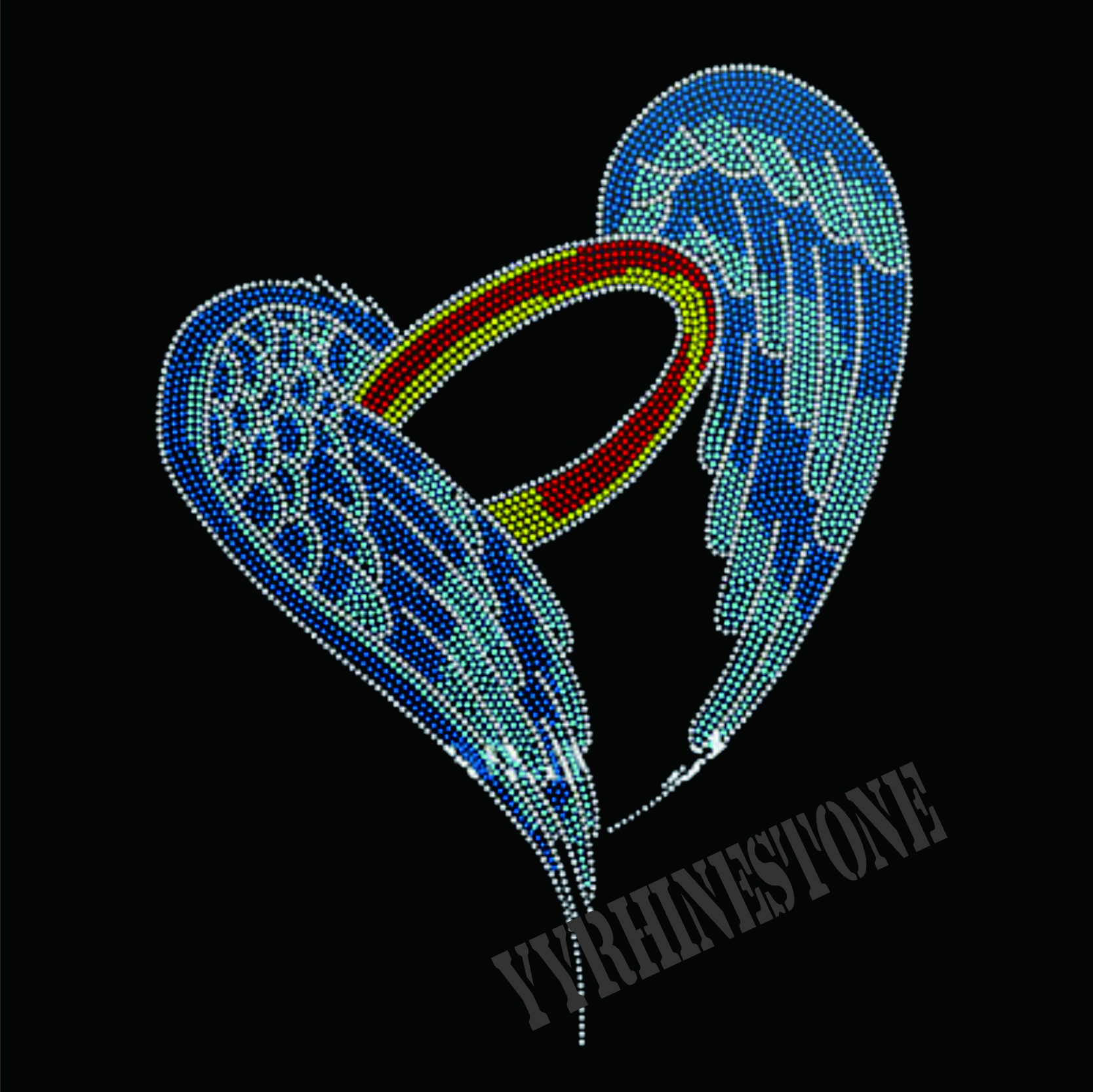angel wings hotfix rhinestone transfer