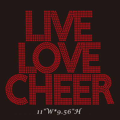 live love cheer hotfix rhinestone transfer