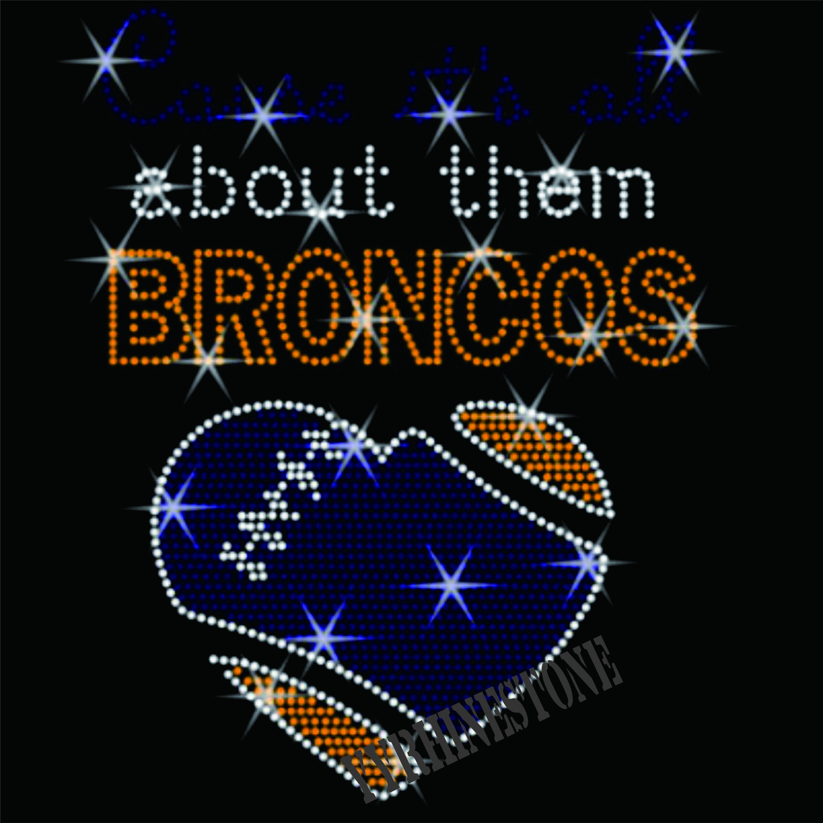 It's All about them BRONCOS Rhinestone Transfer
