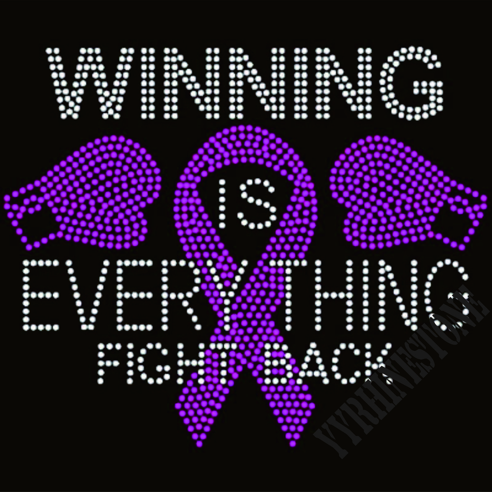 winning is everything fight balck iron on rhinestone transfers