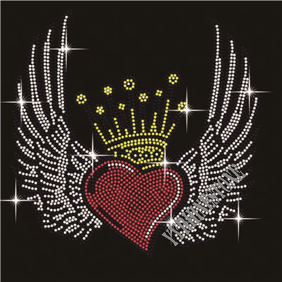 Wings with heart crown Rhinestone Transfers