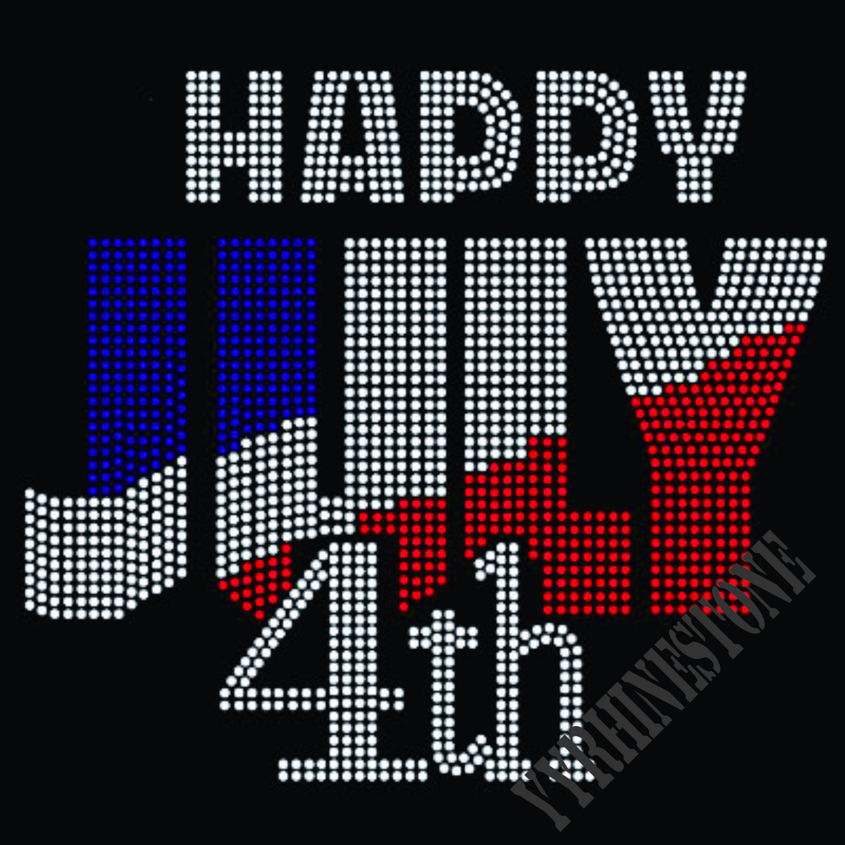 HAPPY JULY 4TH hotfix rhinestone transfers