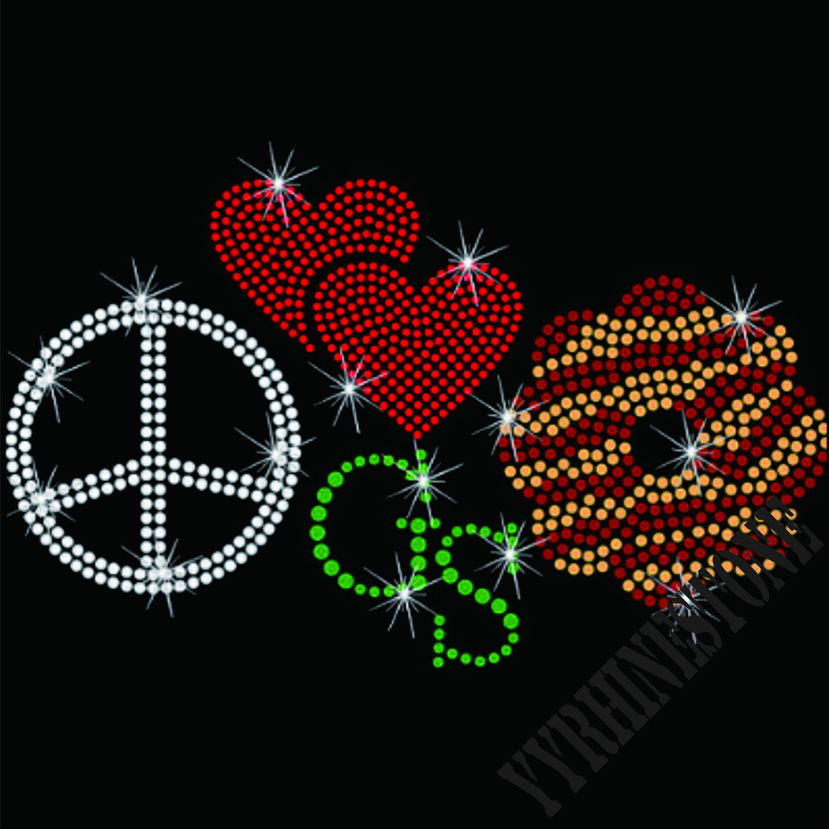 Peace Love Girl Scout Cookies Rhinestone Transfer