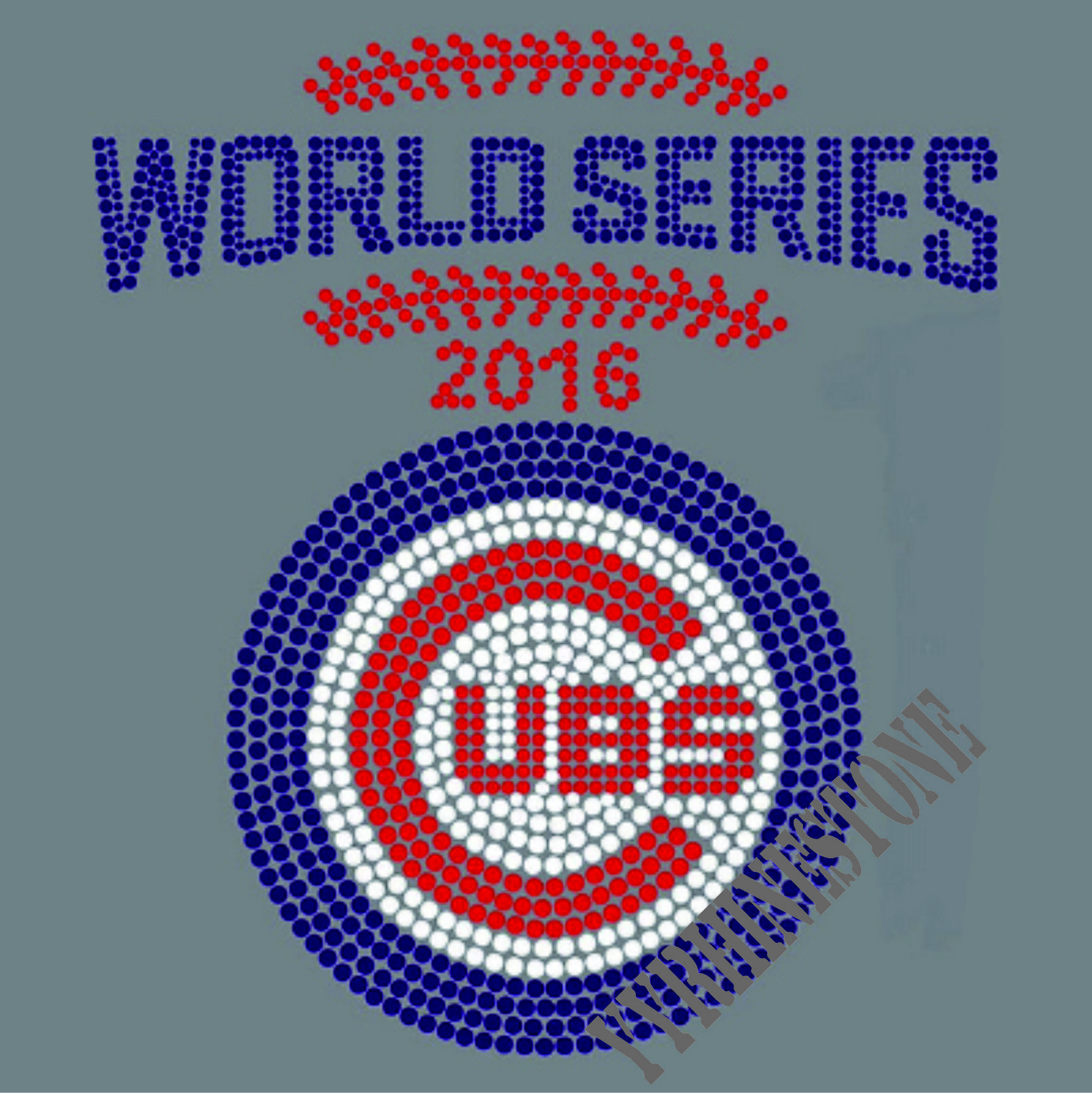 Chicago Cubs World Series Rhinestone Transfer