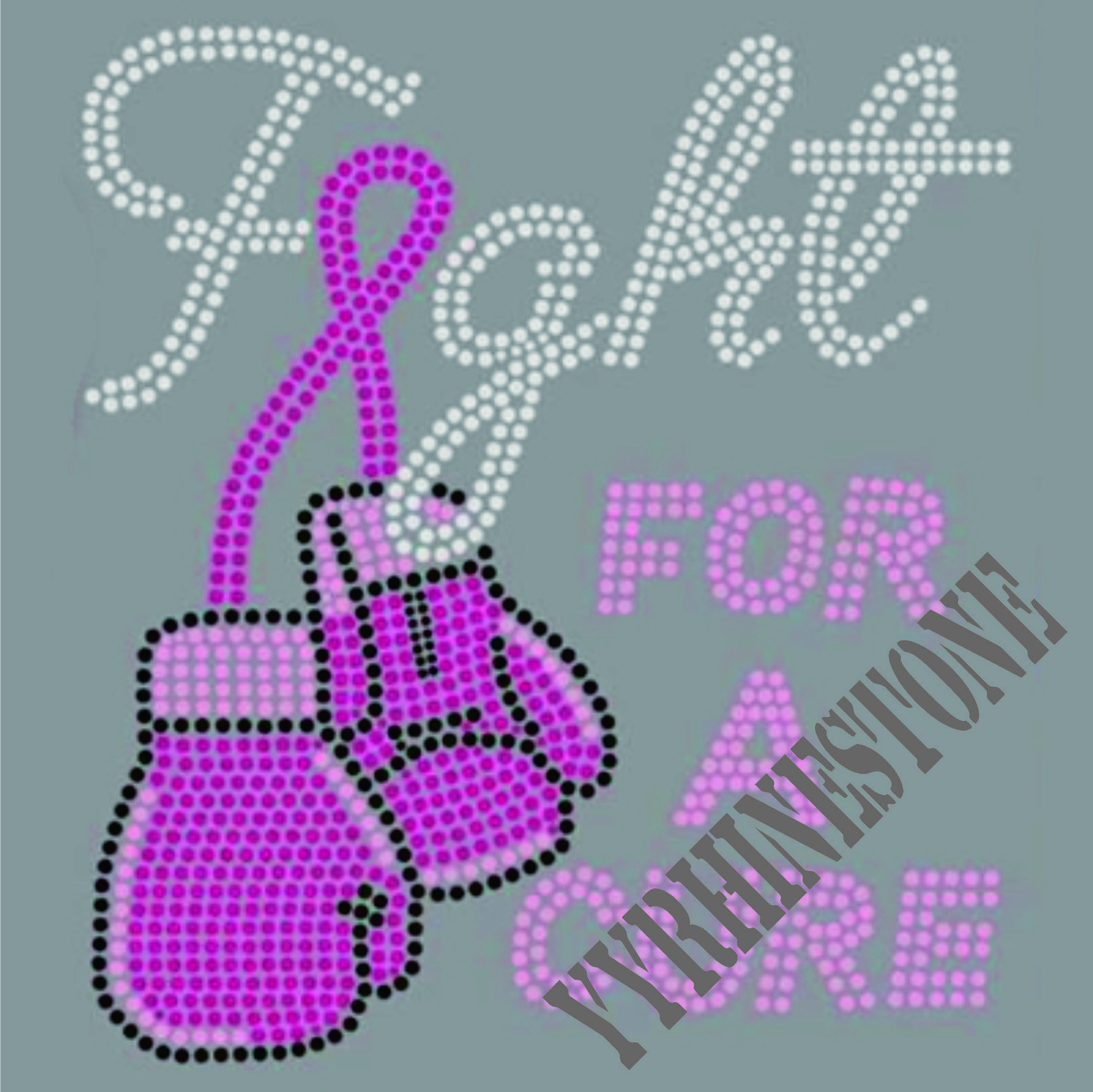 Fight for a cure heat rhinestone transfer