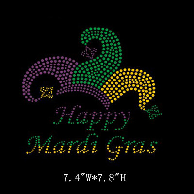 Happy Mardi Gras Rhinestone Transfer