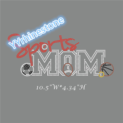 Custom design Sports mom rhinestone transfer
