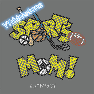 Sports mom rhinestone transfer