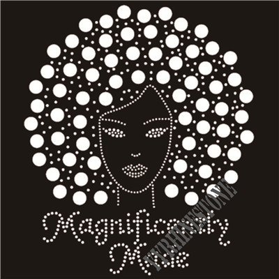 magnificently made afro girl Rhinestone Transfer