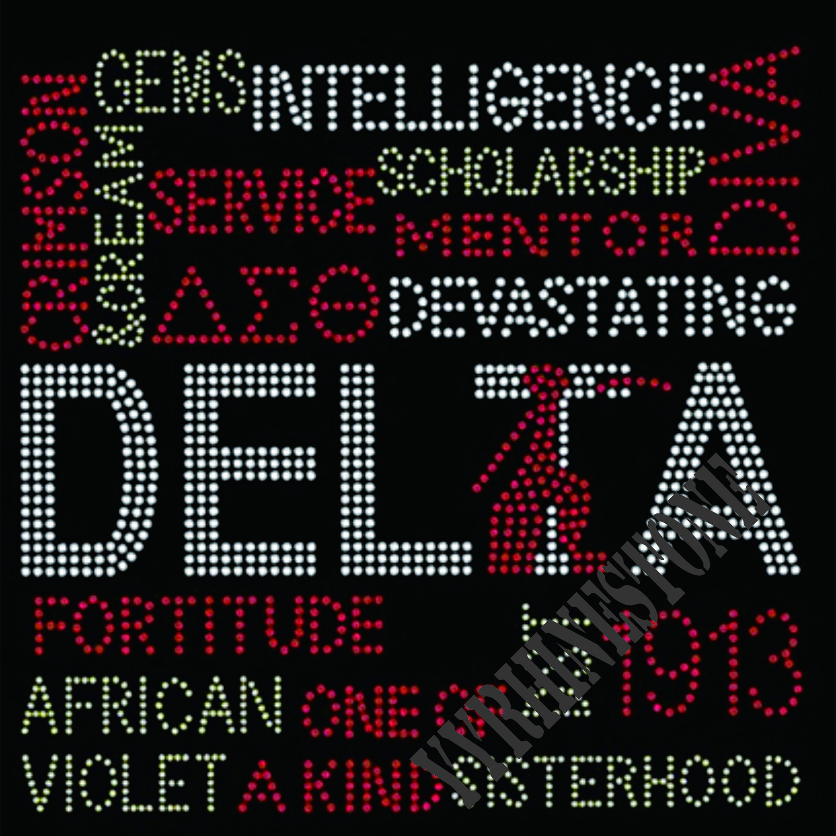 Delta Sigma Theta With Adjetives Rhienstone Transfer