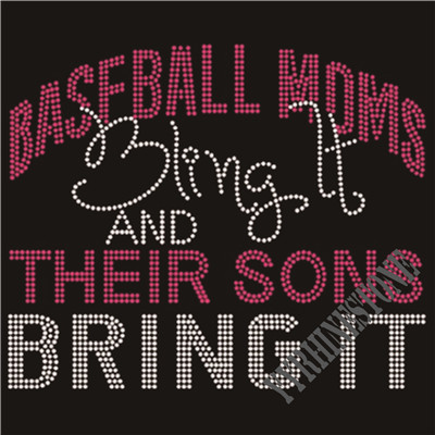 Baseball moms bling it and their sons bling it rhinestone transfer