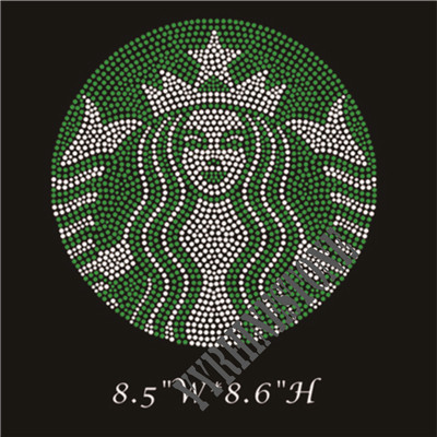 Starbucks pattern iron on hotfix rhinestone design