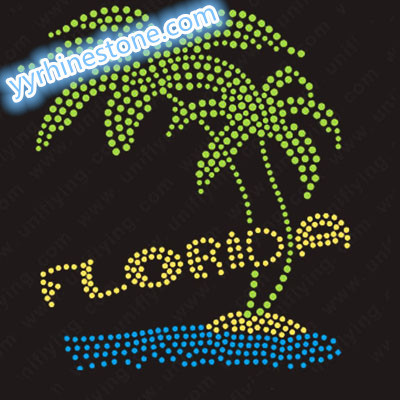 Florida coconut tree rhinestone transfer