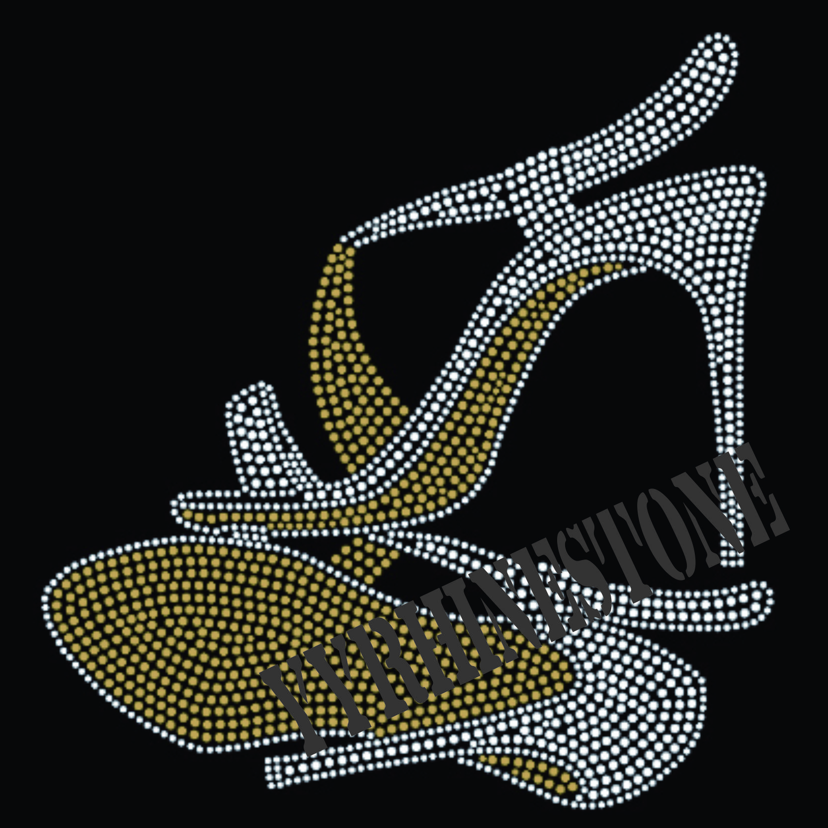 High heel shoes rhinestone transfer--9