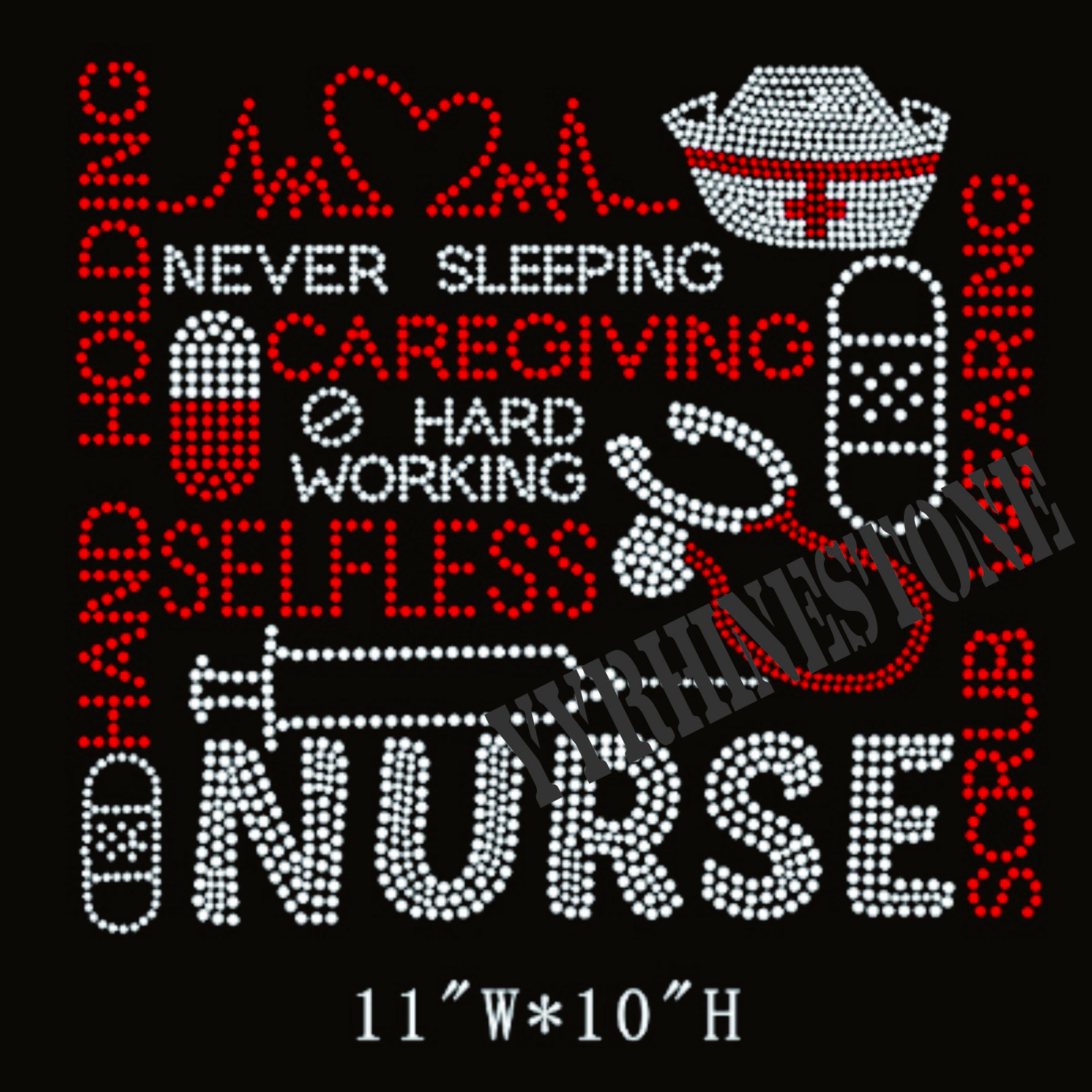 Nurse hot fix rhinestone transfer