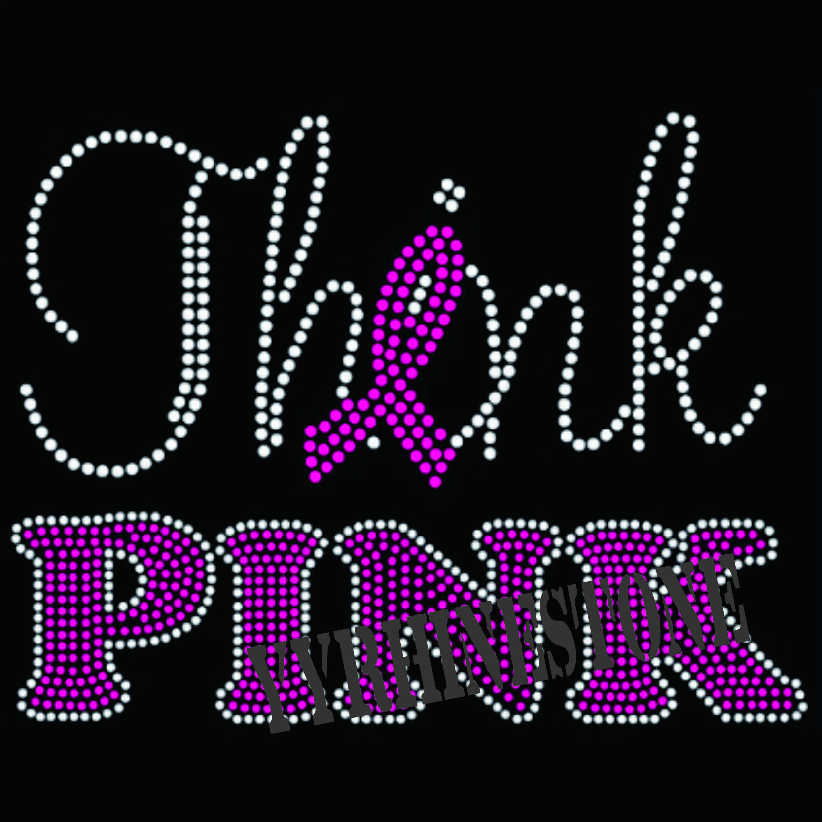 Think pink hotfix rhinestone transfer