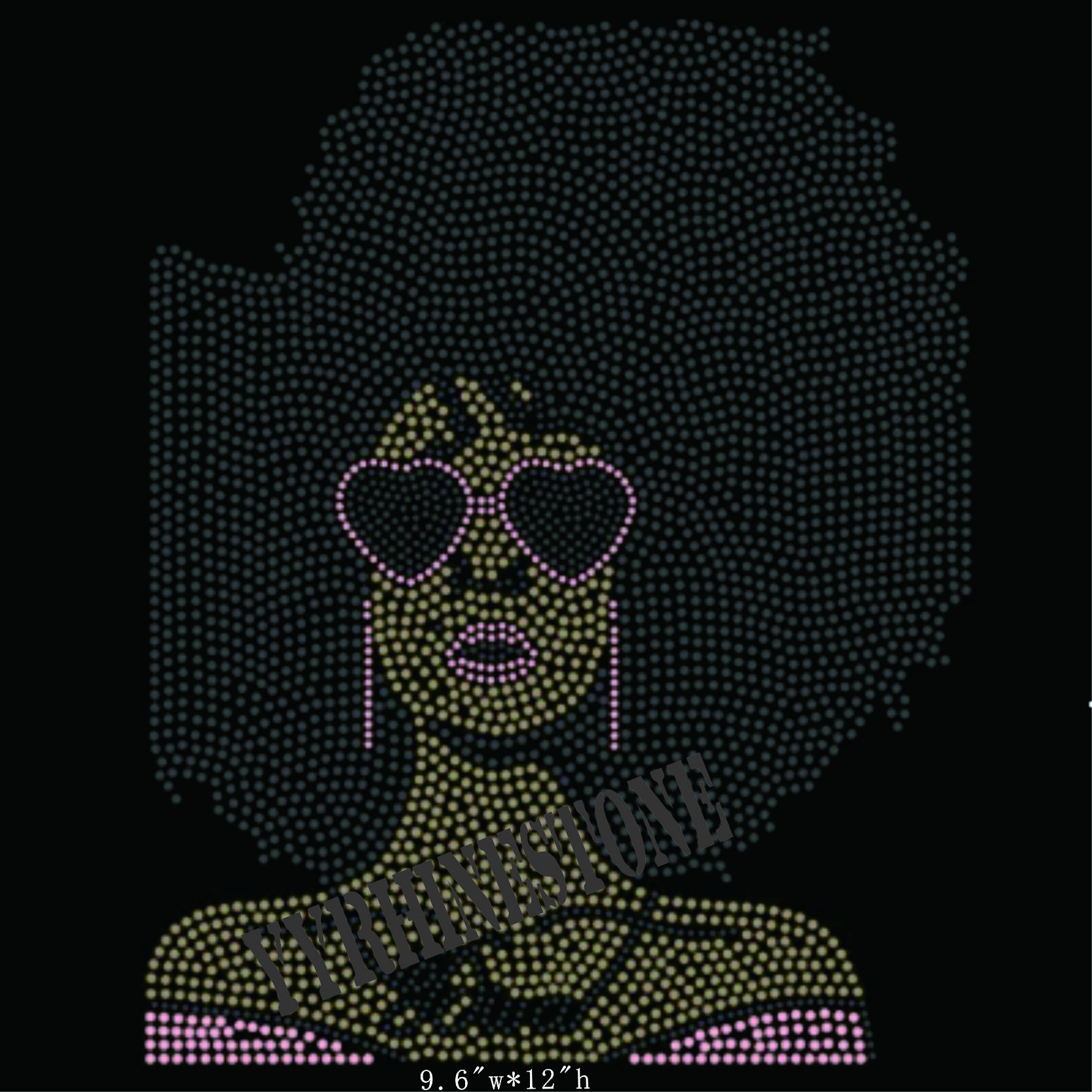 Afro girl lady hotfix rhinestone transfer